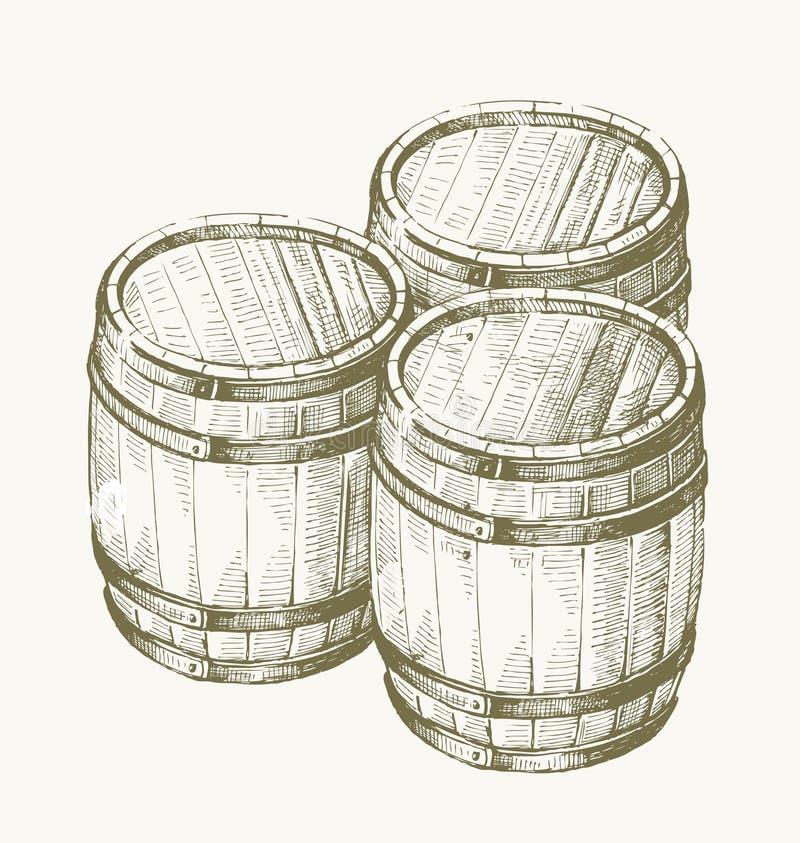 Barilotto di legno del disegno royalty illustrazione gratis