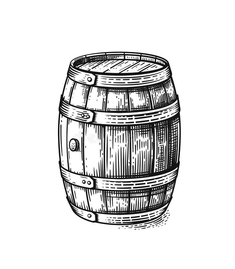Barilotto di legno del disegno della mano di vettore illustrazione vettoriale