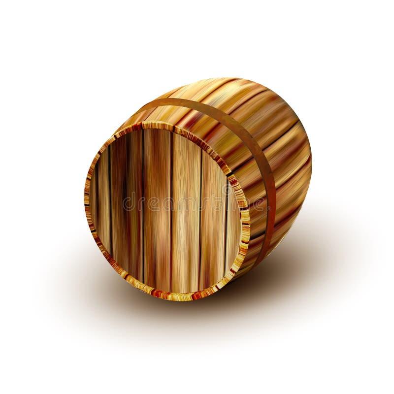 Barilotto di legno della vecchia quercia di Brown per il vettore della bevanda royalty illustrazione gratis
