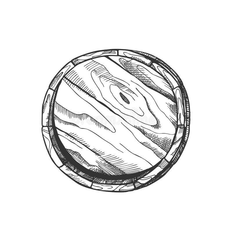 Barilotto di legno tirato Front View Vector della quercia della cantina illustrazione di stock