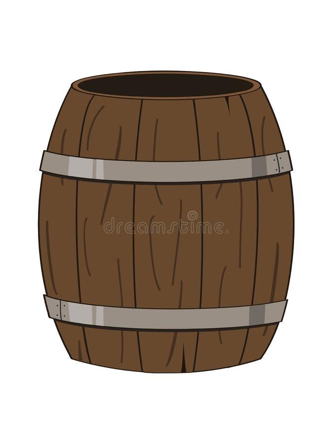 Barilotto di legno vuoto illustrazione di stock