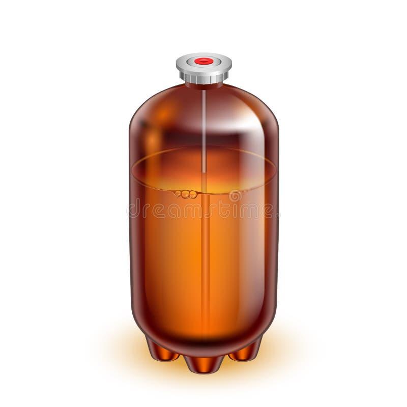 Barilotto di vetro classico del barile per il vettore dell'acqua minerale illustrazione di stock