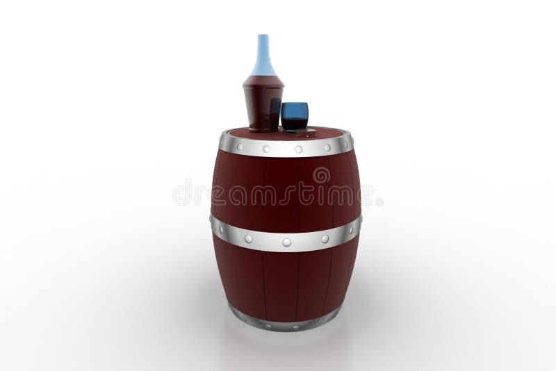Barilotto di vino con la bottiglia del liquore royalty illustrazione gratis