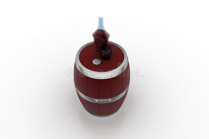 Barilotto di vino con la bottiglia del liquore illustrazione vettoriale