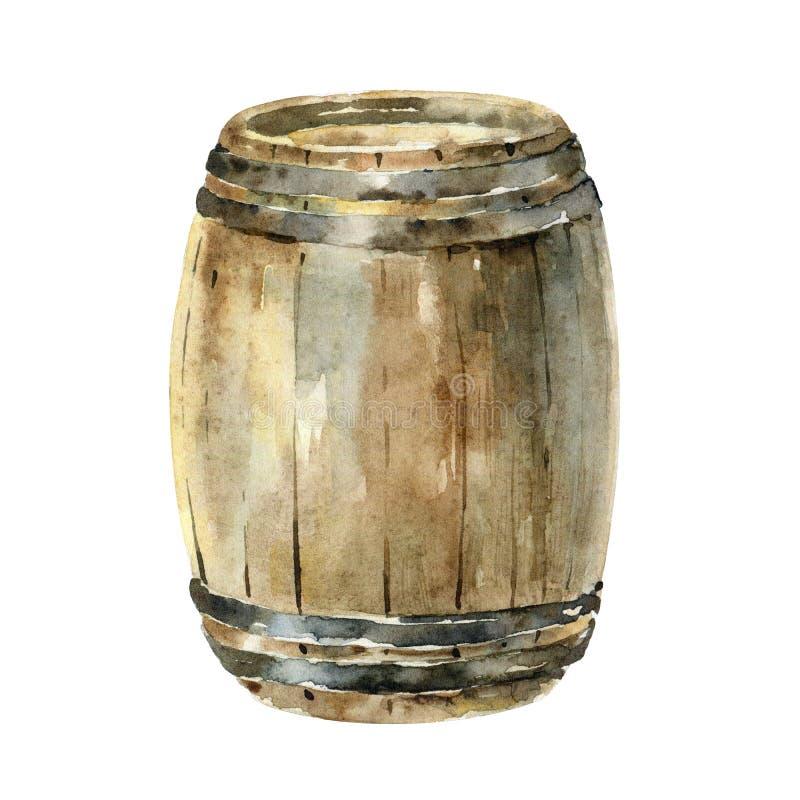 Barilotto di vino di legno dell'acquerello isolato su fondo bianco illustrazione vettoriale