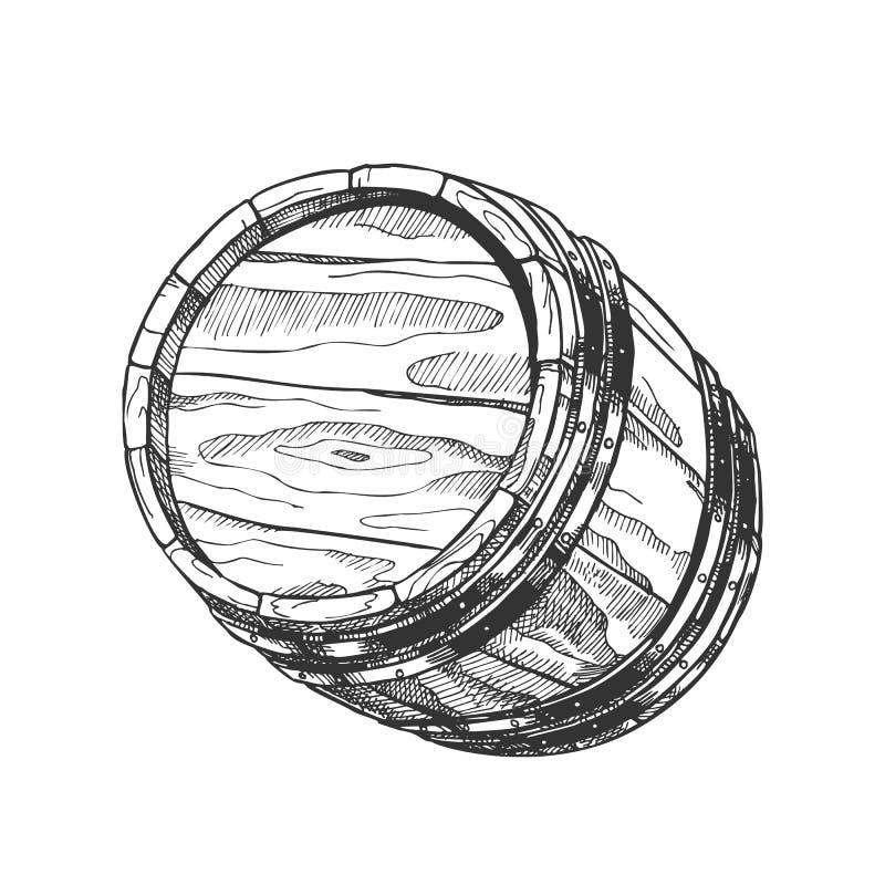 Barilotto disegnato a mano d'annata del barile per il vettore liquido royalty illustrazione gratis