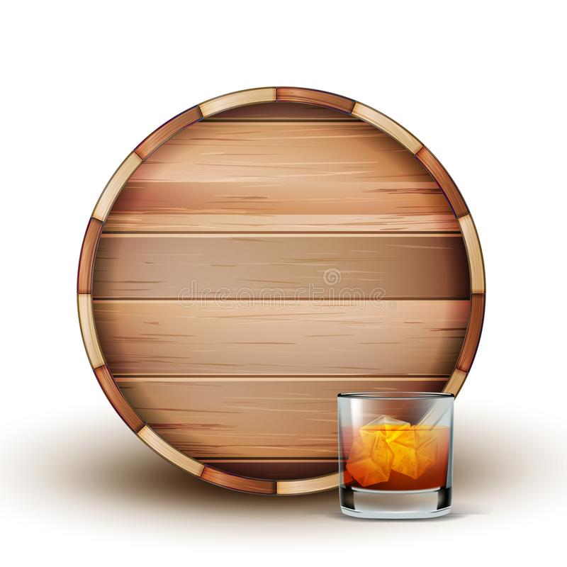 Barilotto e vetro di legno in bianco del vettore del cognac illustrazione di stock