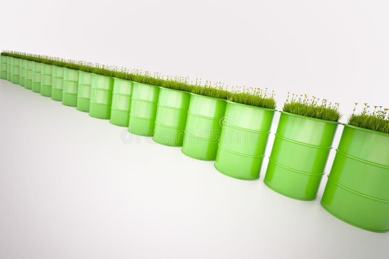 Barilotto verde di bio- combustibile illustrazione di stock