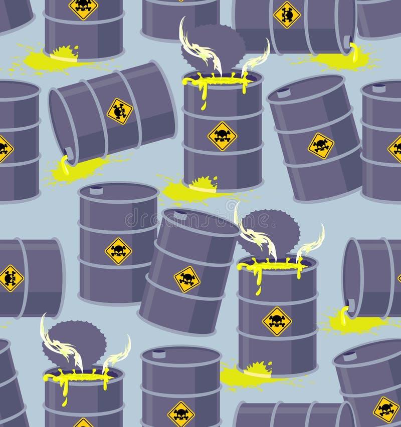 Barils de déchets toxiques de décharge Décharge sans couture de modèle dangereuse illustration de vecteur