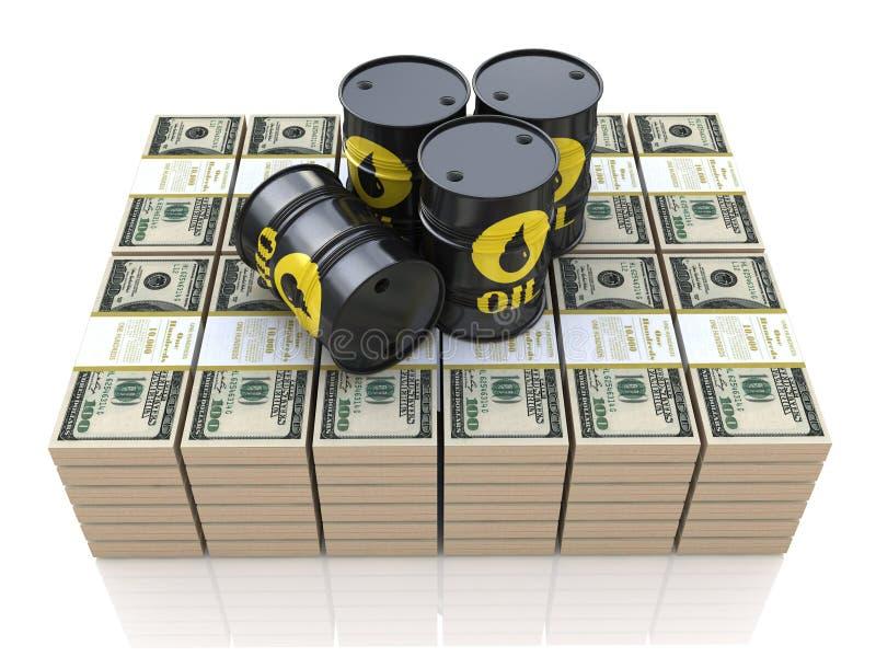 Barils de pétrole sur des paquets de dollars illustration de vecteur