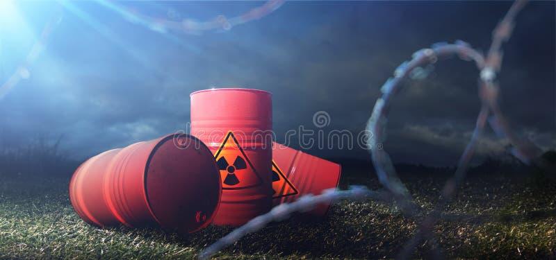 Barils de toxines Pollution chimique Illustration abstraite de barbel? images libres de droits