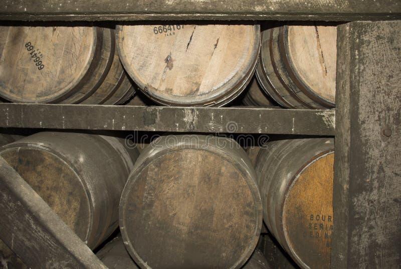 Barils de vieillissement de Bourbon photo libre de droits