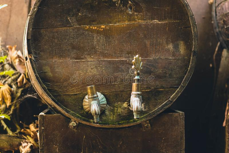 Barils de vin de cru faits de bois image libre de droits