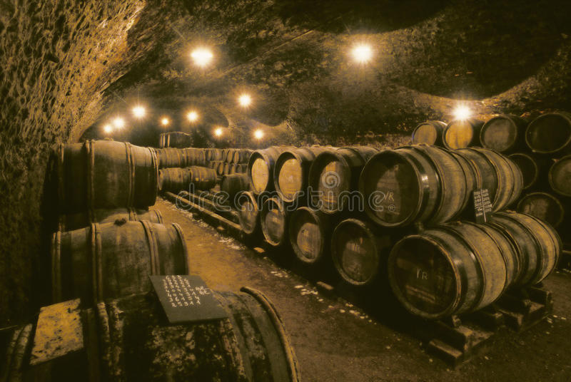Barils de vin en caverne photos stock