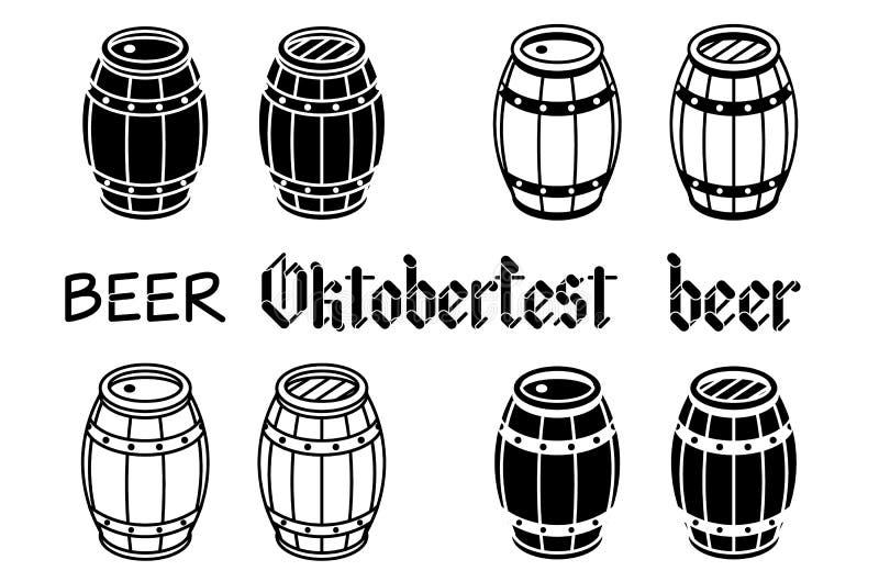 Barils réglés Bois de bière de vecteur oktoberfest illustration stock