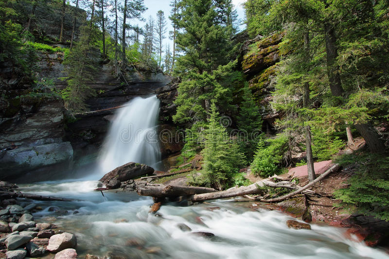Baring Falls in Glacier National Park. Montana stock images