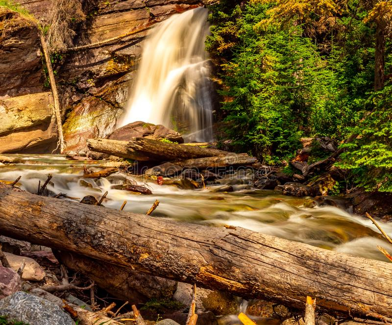 Baring Falls at St mary Lake in Glacier National Park. Baring Falls, St Mary Lake feeds Baring Creek right before it flows into St Mary Lake in GNP royalty free stock image