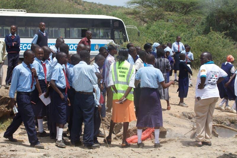 baringo Kenya jeziorni lokalni ucznie fotografia stock