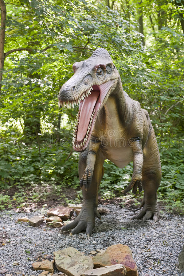 Barionyx. Close-up of the dinosaur in the forest (Barionyx stock photos