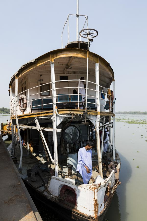 Barisal, Bangladesh, February 27 2017: View of the bow and first class of The Rocket - an ancient paddle steamer operating. On the rivers of Bangladesh royalty free stock photography