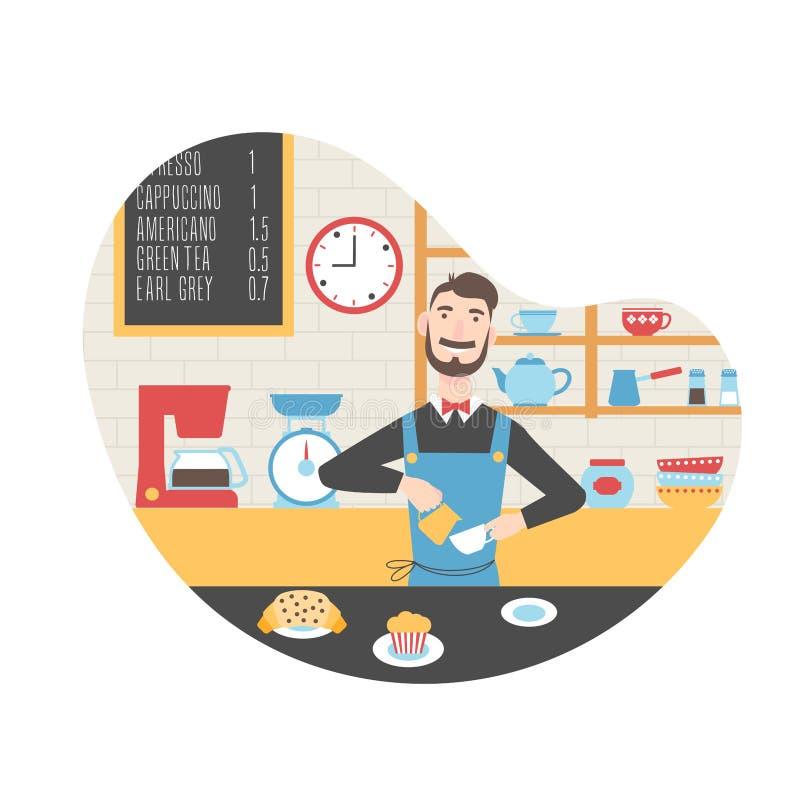 Barista στη καφετερία διανυσματική απεικόνιση