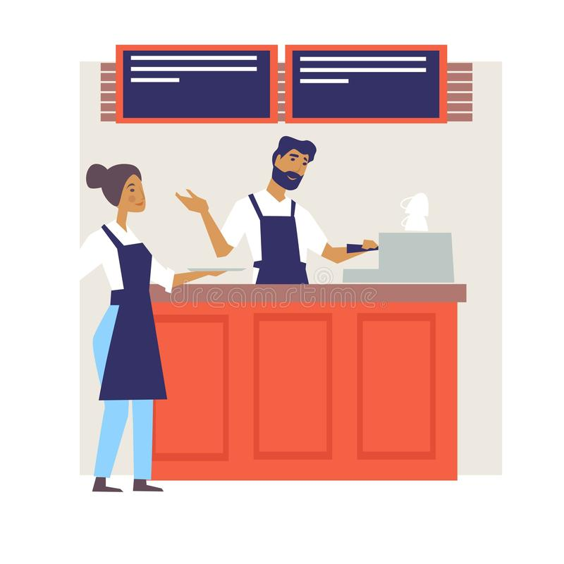 Barista φραγμών σπιτιών καφέ ή μπάρμαν και weitress προσωπικό καφέδων ελεύθερη απεικόνιση δικαιώματος