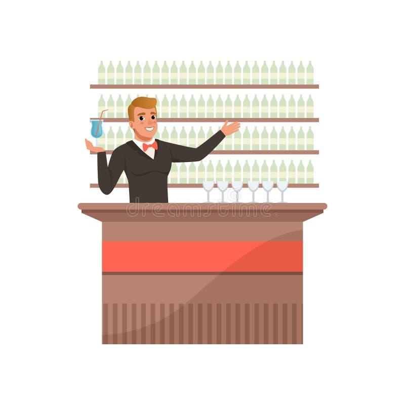 Barista allegro al contatore della barra con il braccio fuori in un gesto d'accoglienza, carattere del barista al vettore del fum illustrazione vettoriale