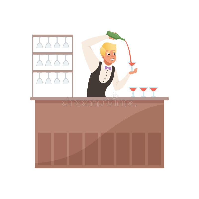 Barista allegro alla contro bevanda di versamento dell'alcool della barra dalla bottiglia, carattere del barista al vettore del f illustrazione di stock