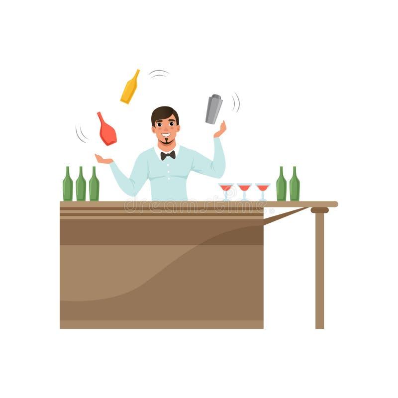 Barista allegro che manipola le bottiglie variopinte che stanno dietro il contatore della barra, carattere del barista al vettore royalty illustrazione gratis