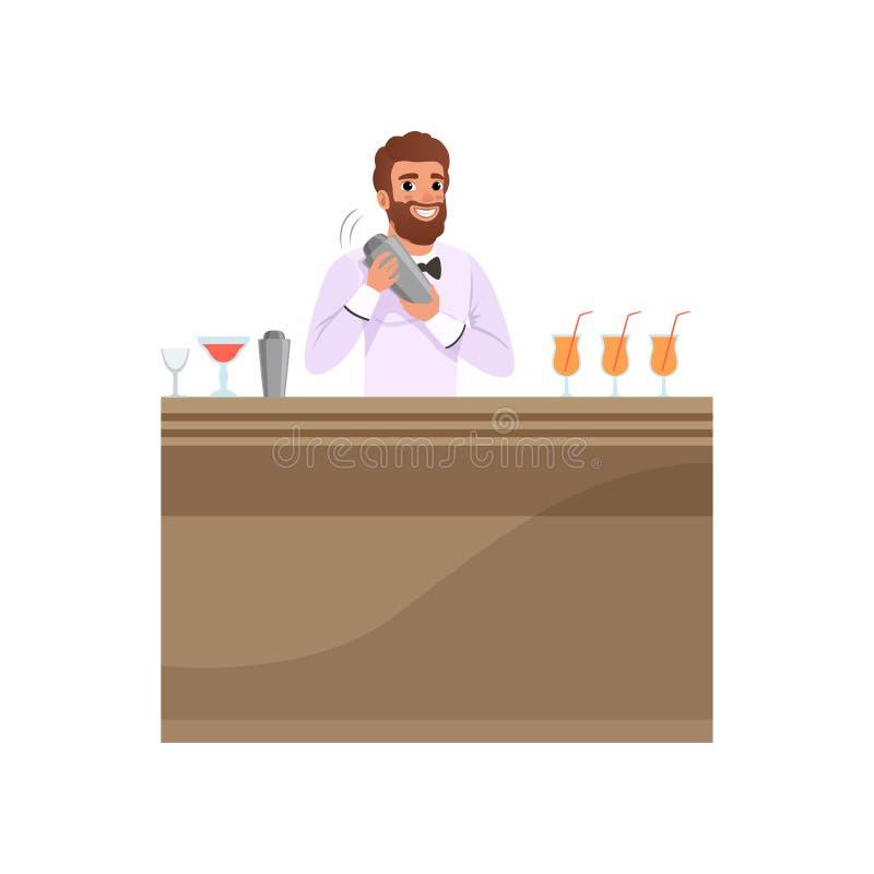 Barista allegro che mescola una bevanda del cocktail in agitatore al contatore della barra, carattere del barista al vettore del  illustrazione vettoriale