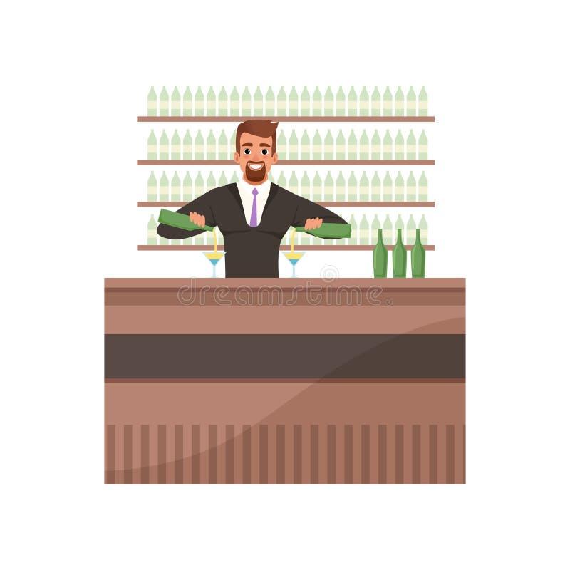 Barista allegro che prepara i cocktail al contatore della barra, carattere del barista all'illustrazione di vettore del fumetto d illustrazione vettoriale