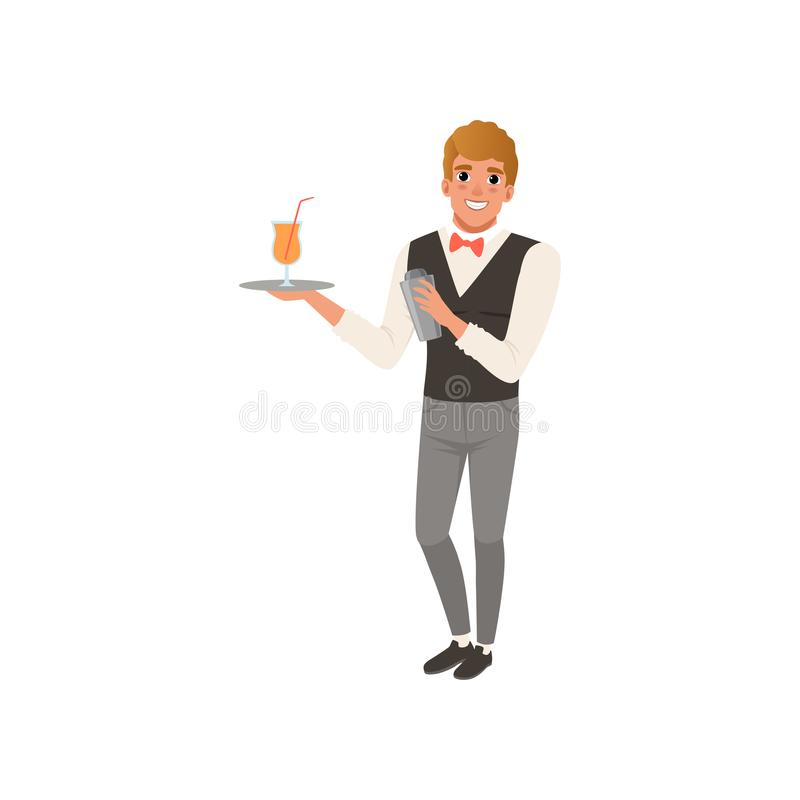 Barista allegro che tiene un vassoio con la bevanda dell'alcool, carattere del barista che mescola una bevanda del cocktail nel v illustrazione di stock
