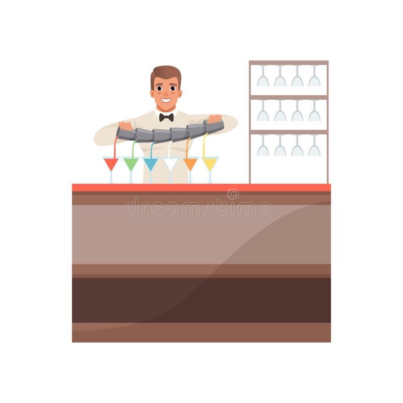 Barista allegro che versa i cocktail alcolici al contatore della barra, carattere del barista all'illustrazione di vettore del fu illustrazione vettoriale
