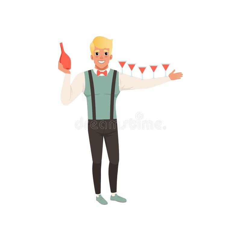 Barista allegro che versa i cocktail alcolici, illustrazione di vettore del fumetto di manifestazione del barista su un fondo bia royalty illustrazione gratis