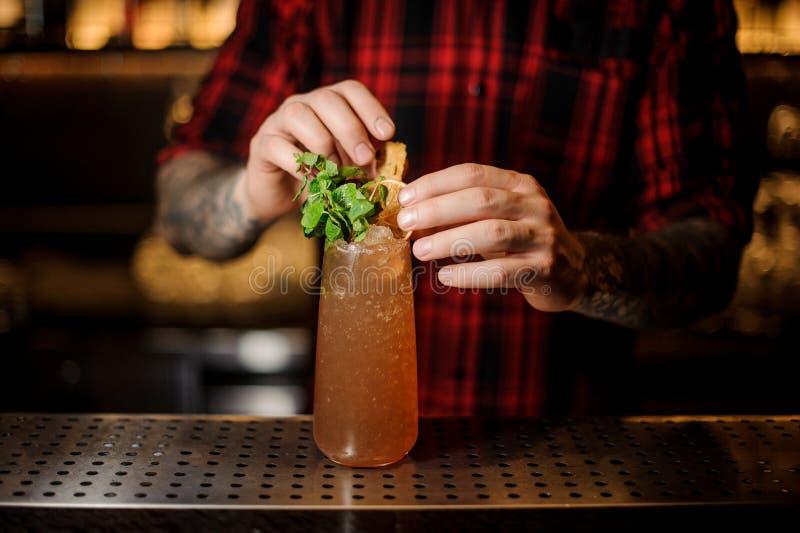 Barista che serve il cocktail della zanna di una cobra con le foglie di menta fotografie stock