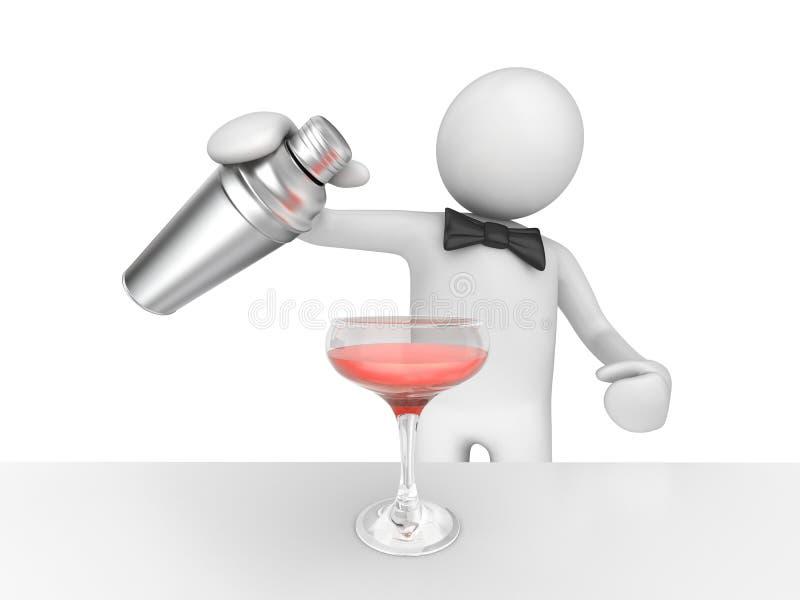 Barista che versa il vostro cocktail dentellare illustrazione vettoriale