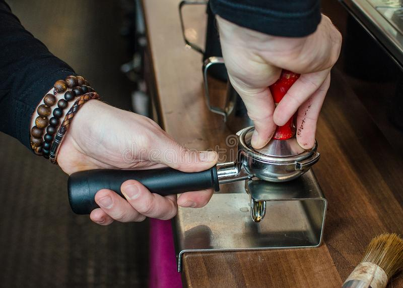 Barista Coffee Brewing stock photo