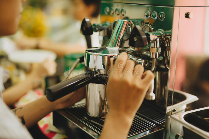 Barista Coffee Maker Machine Grinder Portafilter Concept royalty free stock images
