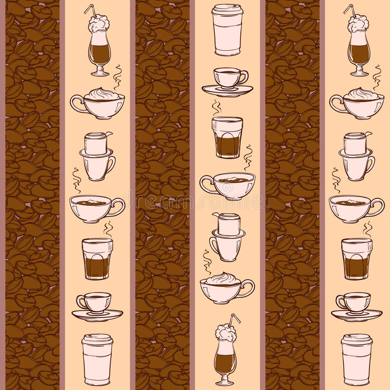 Barista coffee tools. Sketch style. Doodles. Pattern. royalty free illustration