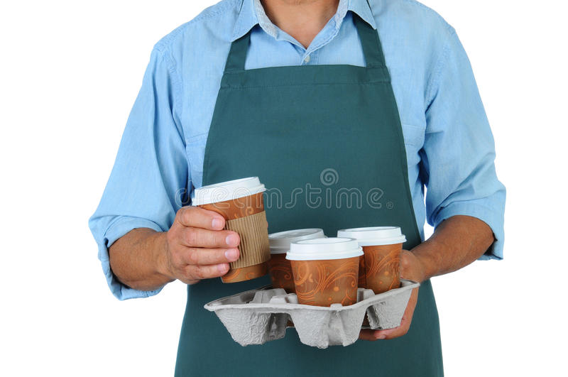 Barista with coffee tray stock image