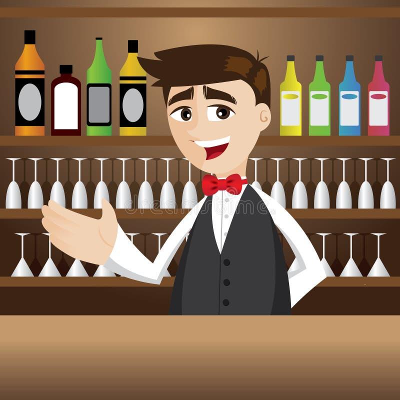 Barista del fumetto alla barra del cocktail illustrazione di stock