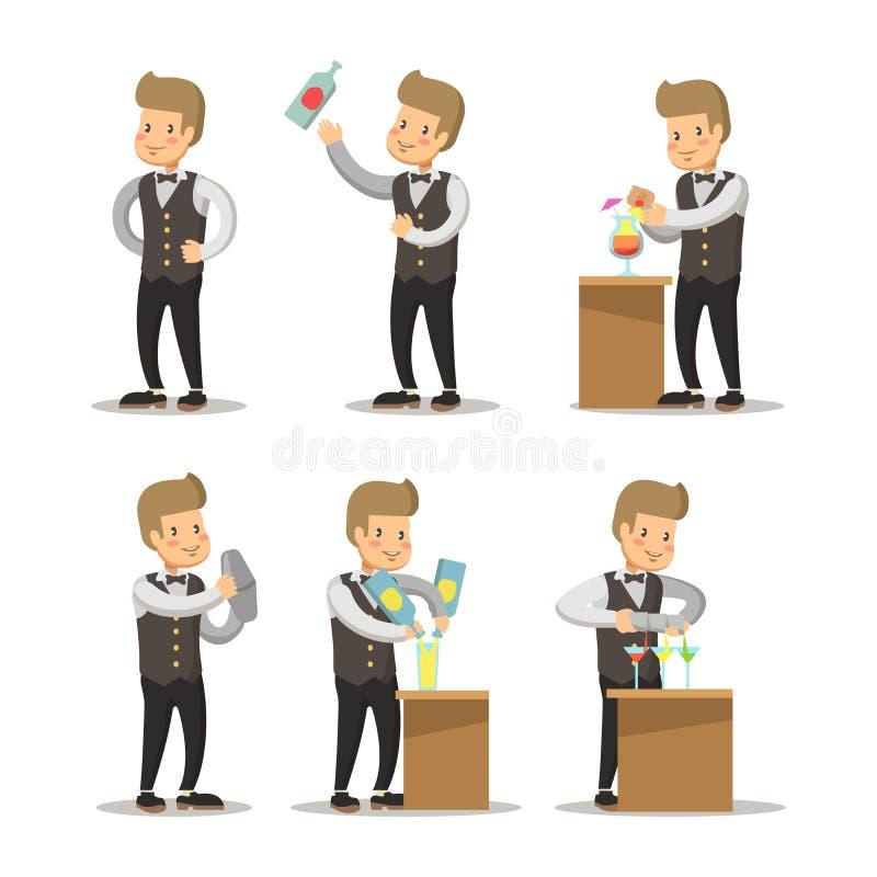 Barista feliz Cartoon Empregado de bar com cocktail ilustração stock