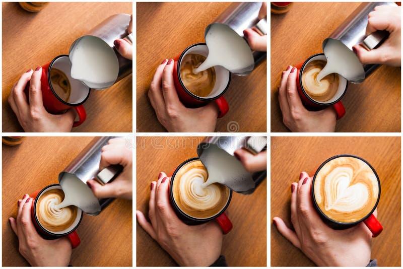 Barista gietende melk in koffie royalty-vrije stock afbeelding