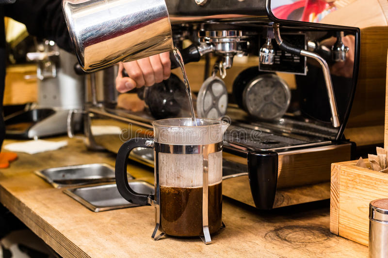 Barista making non traditional coffee in french press. Barista coffee preparation service concept royalty free stock image