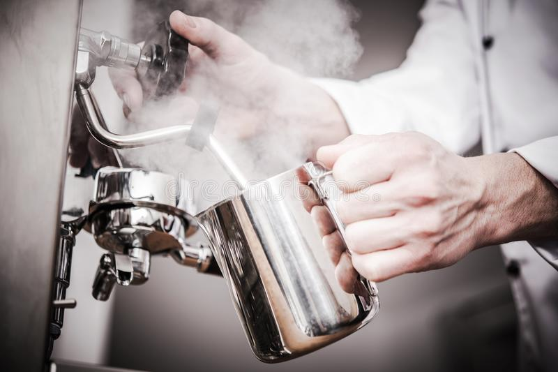 Barista Milk Steaming stock images