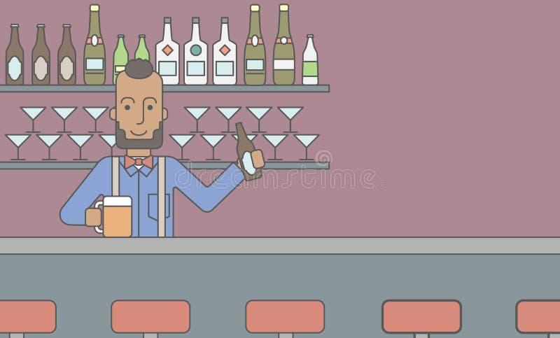 Barista nel pub illustrazione vettoriale
