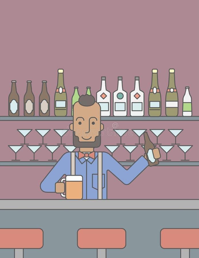 Barista nel pub illustrazione di stock