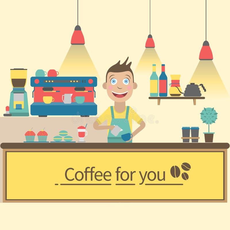 Barista piano in caffetteria Illustrazione variopinta di vettore fotografia stock