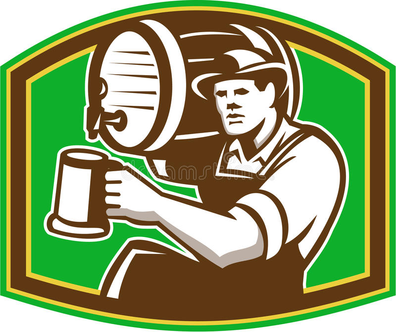 Barista Pour Beer Barrel del barista retro illustrazione di stock
