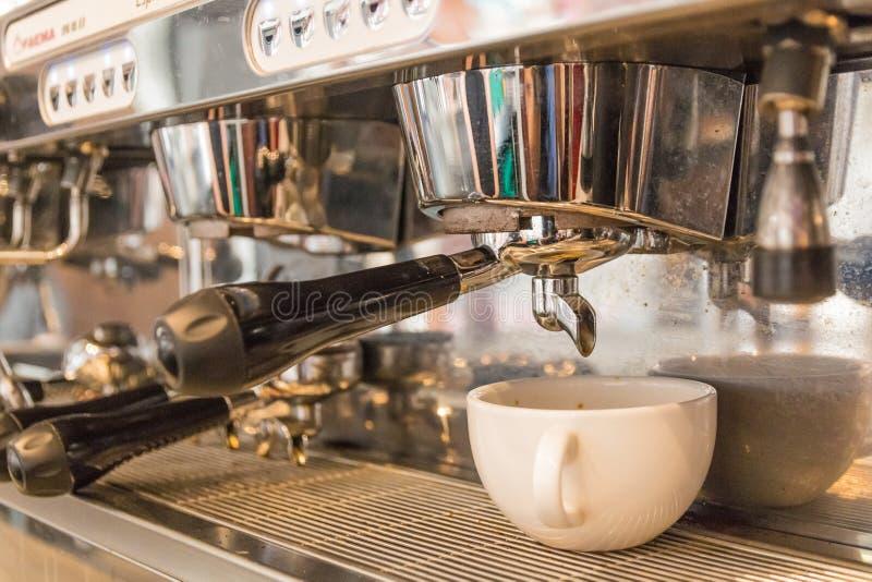 Barista. Prepare coffee powder from machine stock images